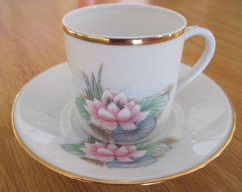 Limoges Demitasse, Espresso Cup, Lotus Flower - Item #1550