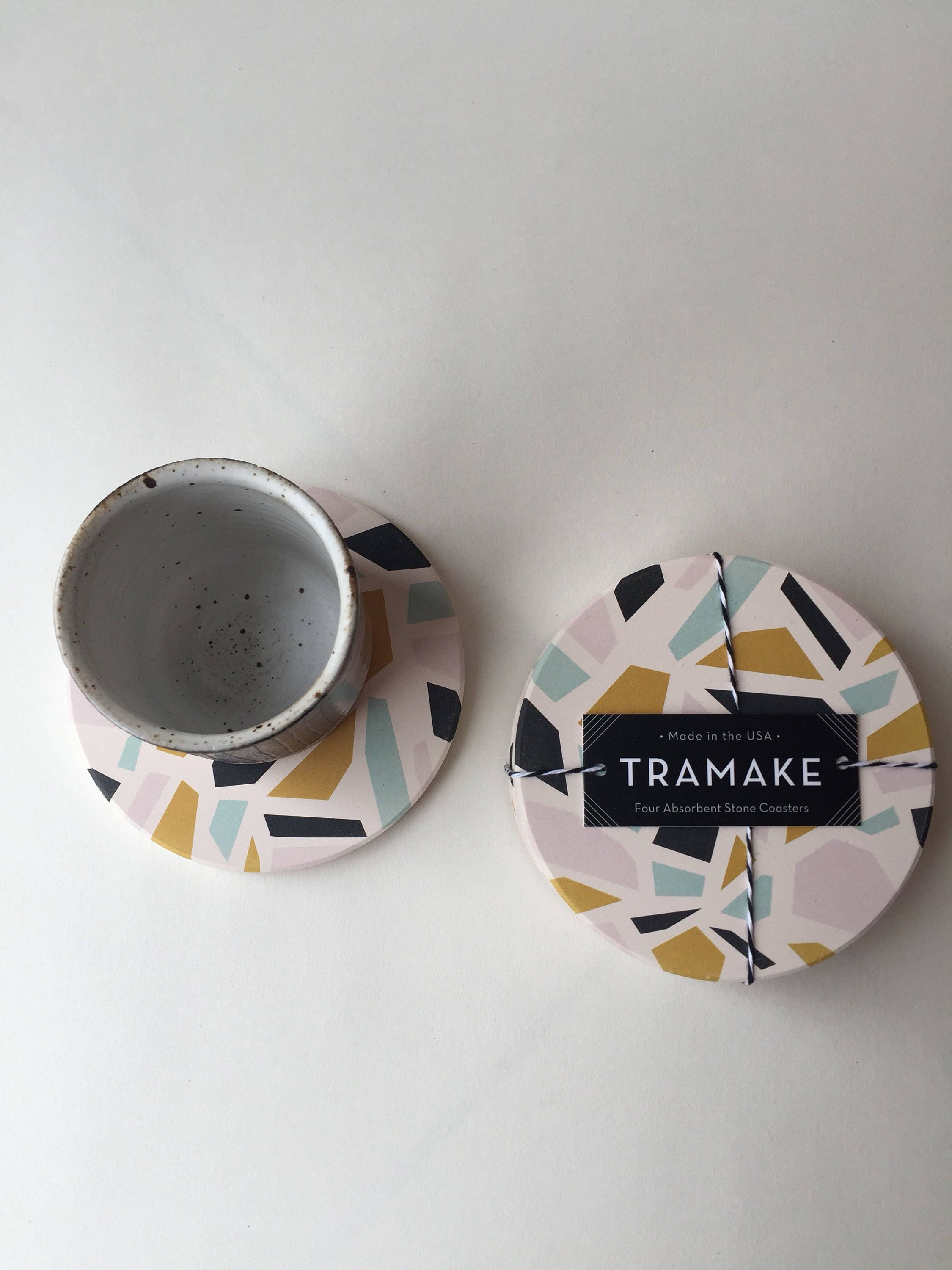 Terrazzo absorbent stone coaster set of 4 - Stone absorbent coasters ...