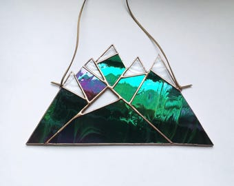 "Emerald Iridescent • 10 x 6"" Snowcapped Mountain Range in Stained Glass • Suncatcher"