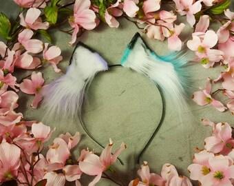 Lilac/Teal Mismatch Fox Ears