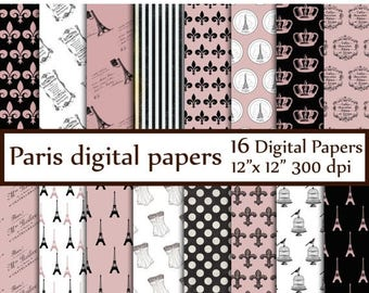 "40%SALE Paris Digital Paper: ""EIFFEL TOWER Paper"" Paris theme digital Printable Paris Invitation Paper Paris Pattern Pink Black Paris Vintag"