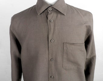Brown Linen Mens  Shirt by Brice  Size M / L  Classic  Cool