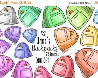 50% OFF Kawaii Backpacks Clipart - Education Download - Kawaii Design Download - Back to School Supplies