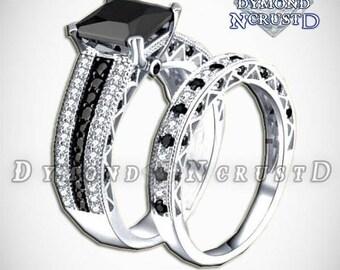 Jack Skellington Inspired White  & Black Swarovski Sterling Silver Engagement Ring Set