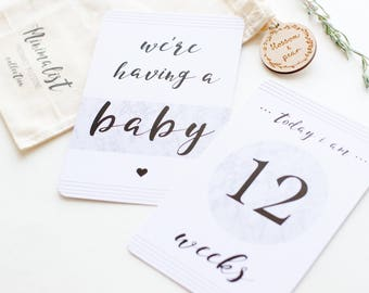 Pregnancy Milestone Cards - Monochrome and Marble Collection - Baby Gift - Baby Shower Gift - Baby Keepsake - Pregnancy Gift - Mom to be