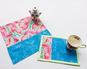 Fabric Table Napkins_Home decor_Country Set_Mug Rug_Gift Birthday_Quilted
