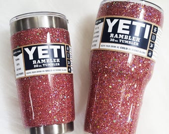 Twinkled Rose Gold Chunky Glitter Dipped Stainless Tumbler Yeti, Ozark Trail Cup, RTiC.... ADD on a Monogram