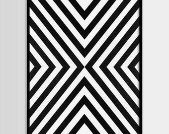 Abstract art, Black white, Geometric Art, Modern art, Wall decor, Digital art, Printable, Digital poster Instant Download 8x10, 11x14, 16x20