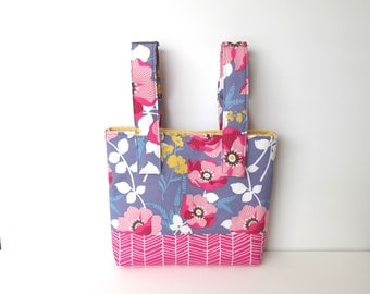 Wheelchair Bag, Walker Bag, Stroller Bag, Walker Caddy, Rocking Chair Bag, Power Chair Bag, Wheelchair Accessories, PURPLE FLORAL TOTE
