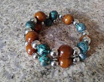 Beaded Boho bracelet, blue and brown wrap bracelet, beaded jewelry, free shipping.
