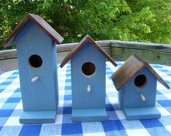 Cedar Birdhouses - Rustic Blue - Decorative, Set of 3 - Garden, Porch, Deck