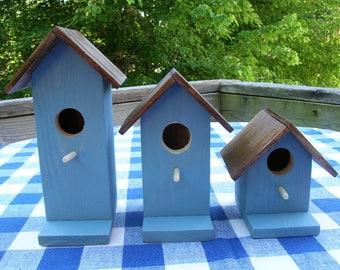 Cedar Birdhouses - Rustic Blue - Decorative, Set of 3 - Garden, Porch, Deck