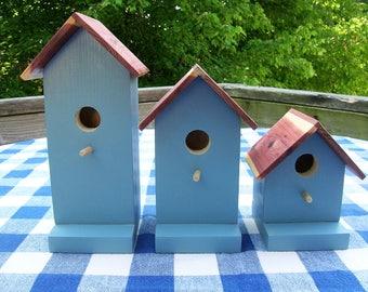 Pine Birdhouses - Decorative, Blue - Porch, Deck, Garden Decorating