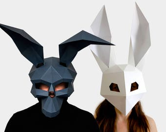 skull mask low poly rabbit mask diy printable masks instant pdf download