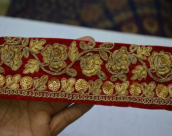 Red Indian Laces and Trims Saree Border Fabric Trim By The Yard Embroidered Wholesale Trimmings Ribbon Indian Sari Border gold
