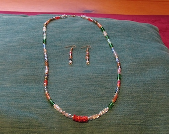 Multi-Coloured Rondelle and Cube Beaded Jewellery Set
