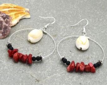 Hoop earrings coral shells cowries, silver 45mm Hoops coral shells, cowries, 45mm silver, beach
