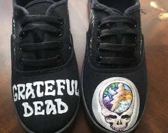 Handpainted Grateful Dead Tie Up Canvas Shoes Size 8