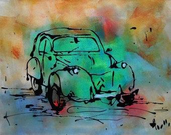 Tableau voiture 2CV verte vintage peinture acrylique toile axelle bosler