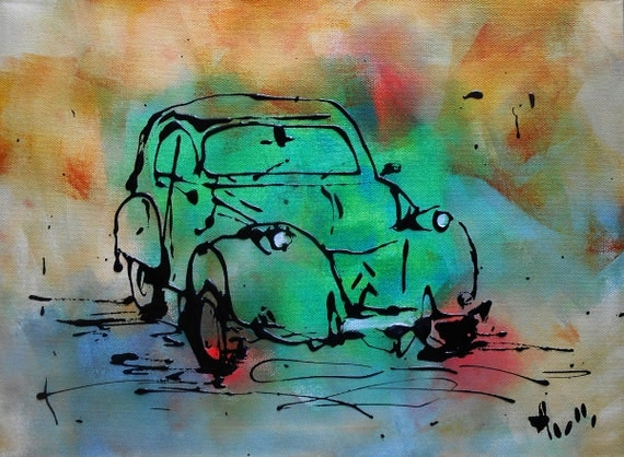 tableau voiture 2cv verte vintage peinture acrylique toile