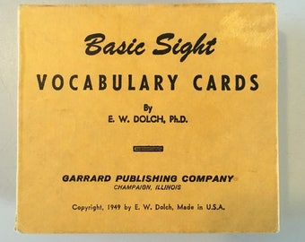 Vintage Teaching Aid ~ Basic Sight Vocabulary Cards Complete Set ~ 1949 ~ Free Domestic Shipping!
