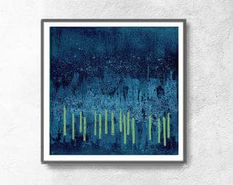 Wall Art 12x12, Abstract Wall Art, Abstract Art Print, Blue Green Print, Scandinavian Design, Geometric Art, Minimalist Art,