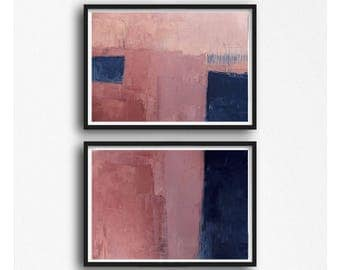 contemporary art,  home decor, wall art abstract, monochrom painting,  SET OF 2, navy blue and pink, coral, blue, peach, horizontal abstract