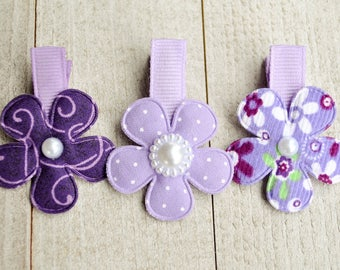 Purple Flower Clips, Girl Hair Accesories, Baby Hair Accesories, Baby Bows, Baby Hair Clips, Infant Hair Clips, Girl Barrettes, Party Favors