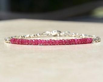 Ruby Birthstone Bracelet, July Birthstone, Bead Bracelet, Hill Tribe Silver, Birthstone Bracelet, Natural Red Ruby Gemstone Bracelet, Gift
