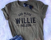 God Bless Willie Nelson // UNISEX // Bella Canvas Heather Olive Green // Music // Graphic Tee // CREW NECK