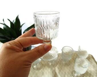 Set of Six Vintage Shot Glasses Vodka  Sherry Liquor Glasses Finnish Textured Ice Glass Bark Pattern Mid Century Modern 1960, 70s Barware
