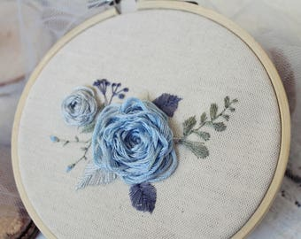 Blue flowers ,Floral embroidery,  Womens day , Mother's Day, For Her, Hand embroidery, Embroidery hoop, Unique decor, Wall Art,Home decor