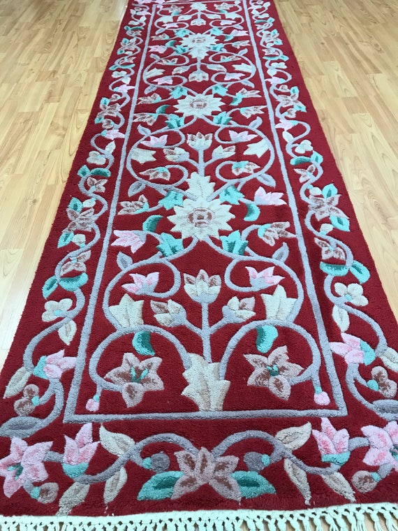 "2'4"" x 7'8""  Chinese Art Deco Oriental Rug Floor Runner - Hand Made - 100% Wool"