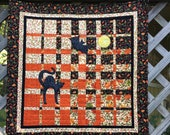Halloween Art Quilt, 20% Off Halloween, Convergence Quilt in Beautiful Fall Colors, Vibrant Orange, Black and Cream,  Quilted Wall Hanging
