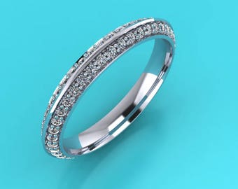 Payment 1 of 5 platinum full double row ladies knife edge wedding band eternity ring  and platinum 2.5mm knife edge wedding ring