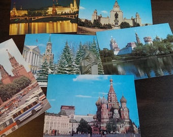 Set of 6 Vintage Soviet Postcards, Collectible Postcards from 6 Views in Moscow  from 1980s, Lenin Memorial, Kremlin