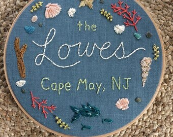 "8"" Hoop Art Hand Embroidered Family Memento/Gift"