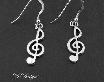 Treble Clef Earrings, Musical Note Earrings, Sterling Silver Earrings, Novelty Earrings, Music Earrings, Gifts for her, Earwire earrings