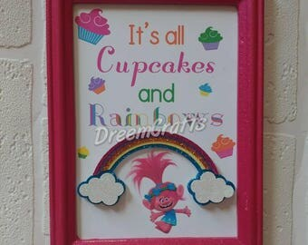 Trolls table sign. Trolls dessert sign. Trolls birthday. Trolls party. Trolls sign. Poppy sign. Trolls banner. Trolls centerpiece.