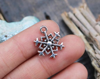 set of 50, snowflake charms, silver charms, metal charms, charms in bulk, 18mm x 14mm, holiday charms, winter holiday,