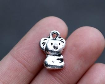 set of 25, koala charms, antique silver, metal charm, 16mm × 10mm, bulk charms, animal charms, cute animal, baby koala