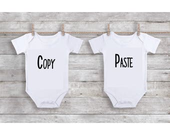 Onesie Set | Copy | Paste | Identical Twins | Funny Onesies | Windows Commands | Microsoft Copy Paste | FREE SHIPPING | Microsoft Keyboard