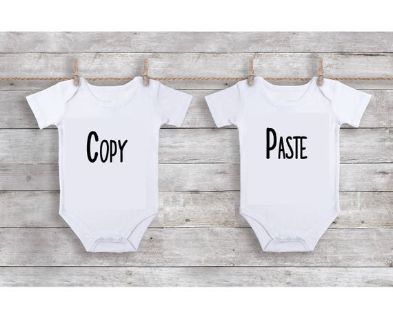 Onesie Set Copy Paste Identical Twins Funny Onesies hot sale 2017
