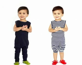 baby romper, toddler romper, toddler boy romper, baby girl romper, baby boy romper, solid romper, striped romper, NAVY or NAVY and WHITE