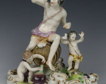 "Antique Dresden Volkstedt after Meissen figurine ""Bacchus Group"""