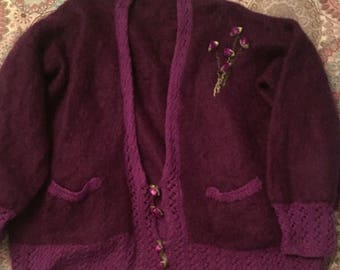 Summer Flowers Purple 80s Vintage Knitted Cardigan L/XL