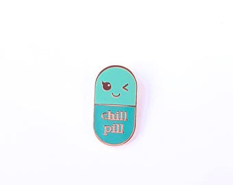 Chill pill MINT Kawaii pin | med student gift | Gift Nurse | Gift Pharmacist | Gift Doctor | Enamel Chill Pill Pin | Just chill