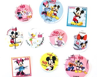 10 x Disney used Japanese postage stamps - Mickey - Minnie - Donald Duck - Pluto - Japan - for crafts, scrapbooking, card making, collecting
