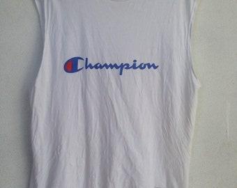 Rare Champion big logo sleeve less Tshirt M