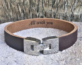 FREE SHIPPING-Men Leather Bracelet,Wristband Leather Cuff,Personalize Bracelet,Jewelry For Men Personalize Men Jewelry,Brown Custom Bracelet